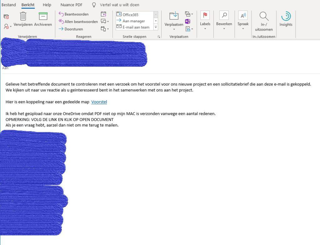 Mail Phishing voorbeeld